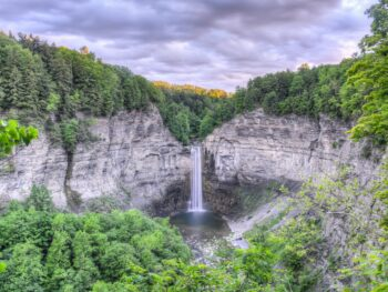 Taughannock Falls in the state park of the same name found in the Finger Lakes (Cayuga) region of upstate New York. Higher than that of Niagara Falls.